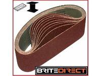 10x Sanding Belts 75 x 457 mm Grit 36 40 60 80 100 abrasive, sandpaper endless sander for wood metal