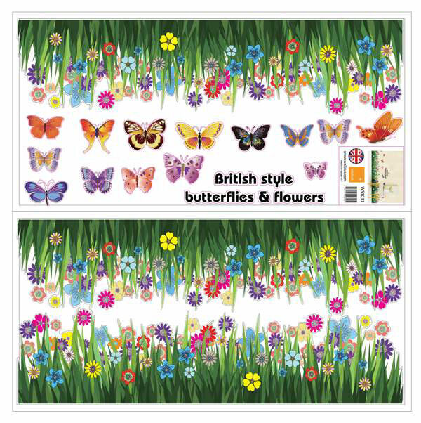 Large Colorful Butterflies Grass Wall Stickers art Mural Decal Decor Living room