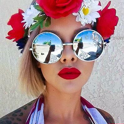 Retro BOHO Round Circle MIRROR Lens XL Large Oversized Big HOT Hippie (Big Round Retro Sunglasses)
