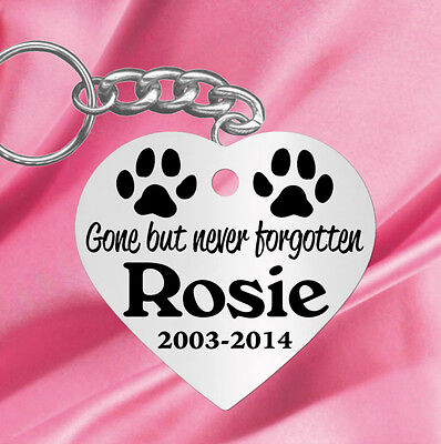 Not Forgotten, Heart Shape~ PERSONALIZED Pet Memorial Keychain, Dog