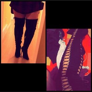 Thigh High Black Suede Heeled Boots
