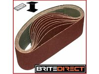 10x Sanding Belts 75 x 457 mm Grit 60, 80, 100 abrasive, sandpaper endless sander Brite Direct Ltd.