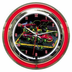 Michael Godard Nasbar Nascar Olive Racing Pit Clock Double Ring Neon Clock - NIB