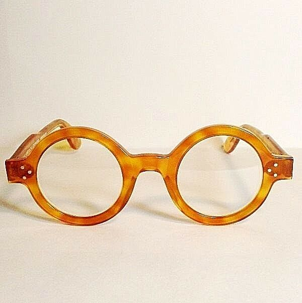 e3664faa3b Vintage Anglo American Eye-wear Boston Round Lens Amber Color Eyeglass  Frames