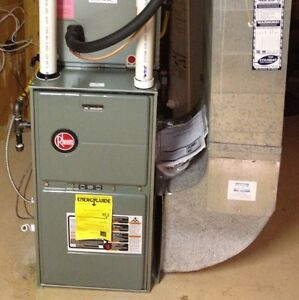 Install and replace furnace, humidifier, ductwork, gas fitting