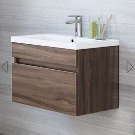 600mm walnut effect basin cabinet wall hung never used still in boxes