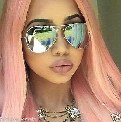 Mirrored Reflectiv Silver Aviator Classic Vintage Sunglasses Men Women Pink Hair