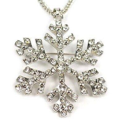 Silver Frozen Fantasy Fairytale Elsa Snow Flake Pendant Necklace  ()