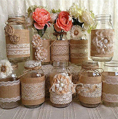 Wedding Lace Burlap Garland Natural Hessian Ribbon Wedding Roll Rustic Decor 2 M