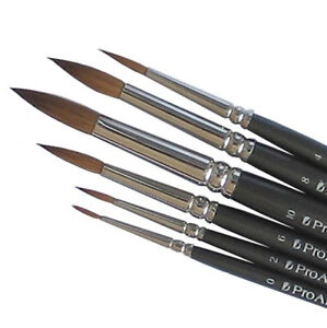 Pro Arte Artists PURE SABLE 6 Brush Set. Watercolour Painting.