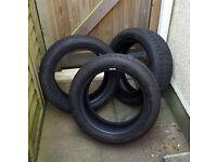3x part worn 195/55R16 Run flat tyres