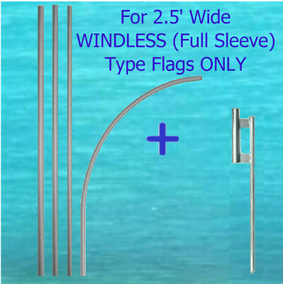 14 Tall Windless Type Flag Pole Kit W Mount Full Curved Sleeve Feather Banner
