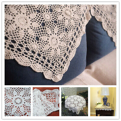Vintage Square Tablecloth Doily Cotton Lace Crochet Floral Table Cloth Cover