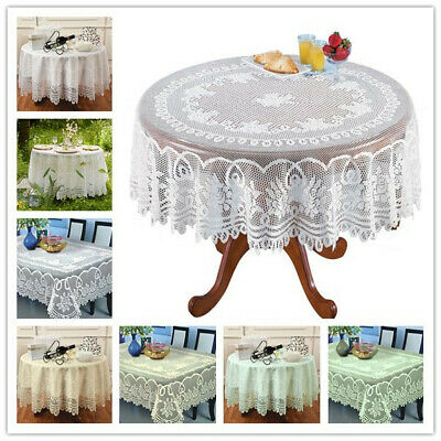 White Lace Tablecloth Rectangle Round Vintage Table Cloth Cover Party - White Rectangle Tablecloth
