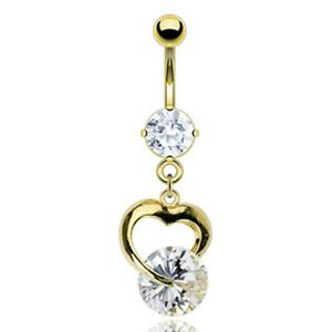 Gold-Plated-Stainless-Steel-Prong-Set-CZ-Dangle-Heart-Belly-Bar-Navel-Ring