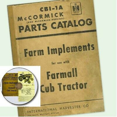 Farmall Cub Tractor Farm Implement Catalog Manual Exploded Parts Views On Cddvd