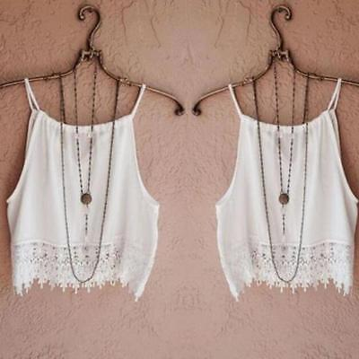 Women Lace Vest CamisoleTops Short Sleeve BlouseTank Tops Tee T-Shirt White