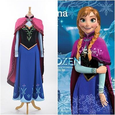 Disney Movie Frozen Anna Dress Made Cosplay Costume For Adult and Children (Anna Frozen Costumes For Adults)