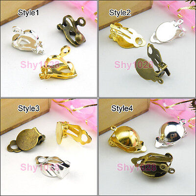 Gold Plated Jewelry Findings - Silver Plated,Gold Plated,Bronze Clip On Earring Jewelry DIY Findings R5054