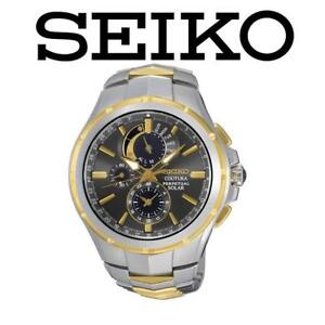 USED MEN'S SEIKO SOLAR WATCH SSC376 205353343 JEWELLERY JEWELRY STAINLESS STEEL COUTURA