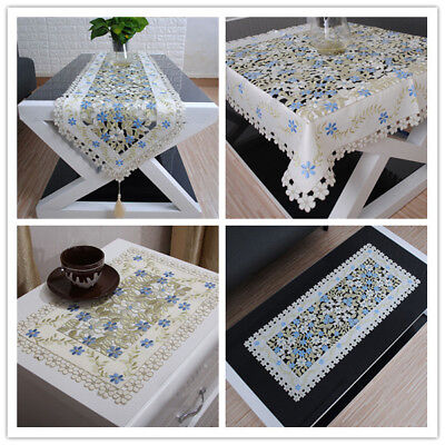 Blue Embroidery Lace Table Runner Floral Dining Table Topper Wedding Party Decor (Blue Lace Table Runner)