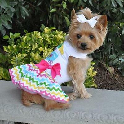 Dog Dress Embroidered Ice Cream Cart & Matching Leash Doggie - Matching Hunde Kostüm
