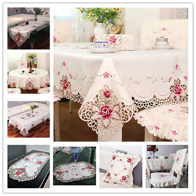 White Embroidered Lace Tablecloth Table Runner Wedding Valentines Day Decor - Valentine Tablecloth