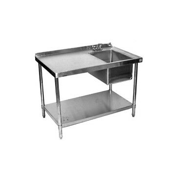 24x48 All Stainless Steel Kitchen Work Table With Prep Sink On Right Wfaucet