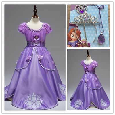 Christmas Costum (Kids Girls Sofia Dress Christmas Cosplay Costume Birthday Party Princess Dress )