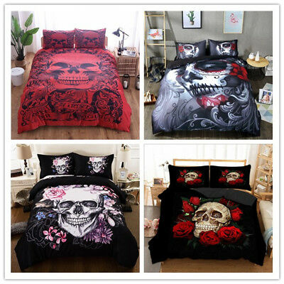 Gothic Skull Duvet Cover Pillowcase King Queen Twin Full Bedding Set Halloween