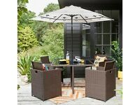 Cube Rattan Dining Set Garden Furniture Conservatory Outdoor Brown With Cushions Brand New Sealed