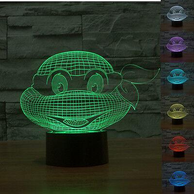 3D Teenage Mutant Ninja Turtles Led 7 Color Change Table Desk Lamp Night Light