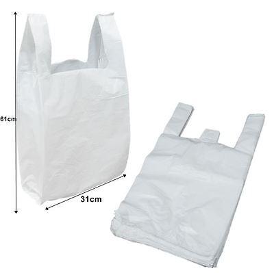 100 LIONHEART Hi-Tensile Vest Carrier Bags Plastic Supermarket Takeaway Shopping
