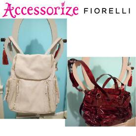 ACCESSORIZE Light Grey Ladies Backpack & FIORELLI Bordeau Shoulder Bag, Exc. Condition