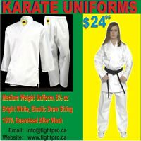 KARATE UNIFORM, MEDIUM WEIGHT, TRY FREE OR WE SHIP FREE