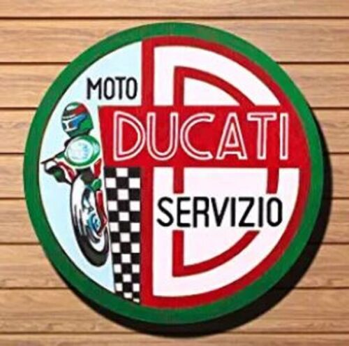 DUCATI MOTORCYCLE ROUND TIN SIGN 12 INCH RACING SERVICE STATION BIKE FLAG BANNER