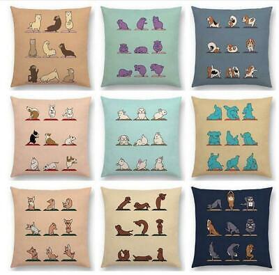 Cartoon Prints Alpaca Bunny Dachshund Hippo Dogs Cushion Cover Sofa Pillow Case ()