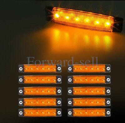 10Pcs 6LED Amber Flat Oblong Truck Bus Trailer Side Marker Indicators Lights US