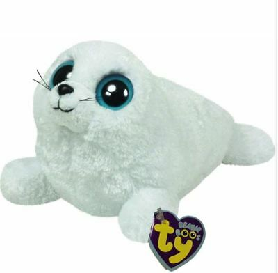 "White Seal 6"" Ty Beanie Boos Puppy Glitter Eyes Plush Stuffed Animals Toys"