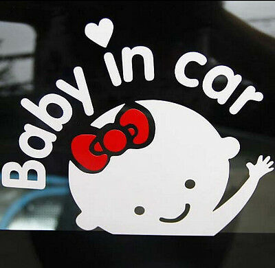 "Girl Baby on Board ""Baby in car"" Window Car Sticker Auto Truck Vinyl Decal White"