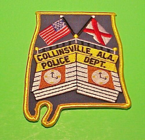 "COLLINSVILLE  AL  ALABAMA  ( STATE SHAPE ) 4 3/4""  POLICE PATCH  FREE SHIPPING!!"