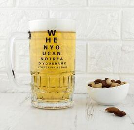 Opticians chart beer glass tankard