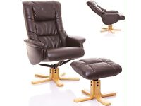 NEW IN BOX !!! Grey shanghai leather chair and stool