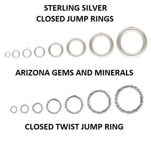 Sterling Silver .925 3mm to 12mm Closed Jump Rings in 22Ga.+ 20.5Ga+19.5Ga+18Ga