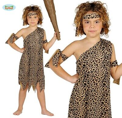 Childs Caveman Fancy Dress Costume Kids Boys Cave Man Outfit New fg