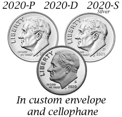 2020 P D S .999 Silver Proof Roosevelt Dime Clad PDS 3 Coin Set 10c Ten Cent
