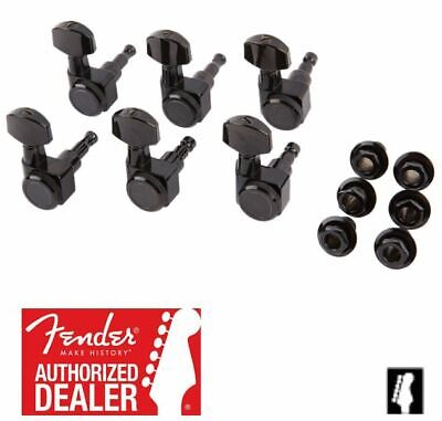 "Fender Locking ""F"" Tuners Black 6 Inline 2 Pin Strat Tele 099-0818-400 NEW"