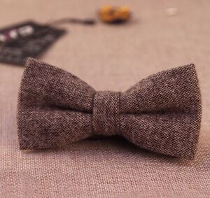 New vintage Brown Tweed/ Wool double layer bow tie. Excellent Quality. Uk