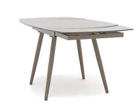 Designer Motion Ultra Modern Taupe Curved Glass Extending Dining Table!
