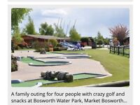 Ticket/voucher for crazy golf with drinks and snacks